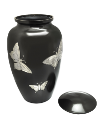 Slate and Pewter Butterflies Brass Cremation Urn