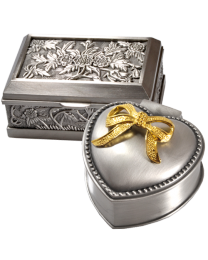Ornate Pewter Jewelry Boxes