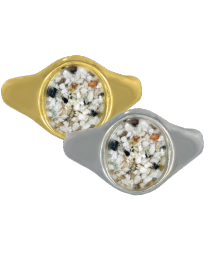 front view of ring in gold and sterling