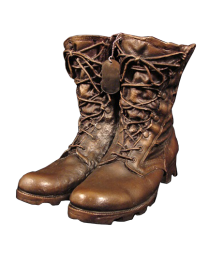Military Urn: Steadfast Bronze Sculpture Urn- Combat Boots