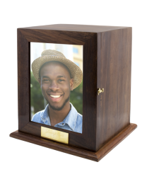 Photo Wood Urn With Brass Plaque