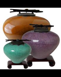 Wave Raku Ceramic Cremation Urn