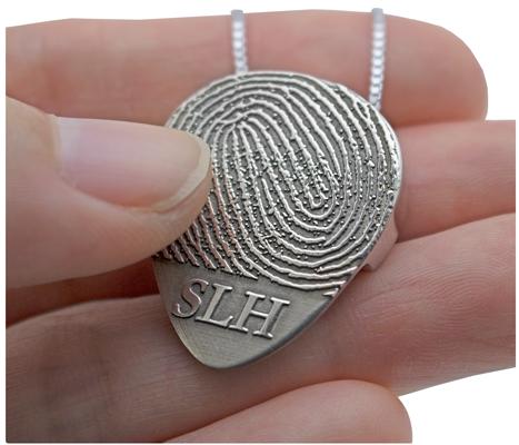 guitar pick fingerprint memorial jewelry