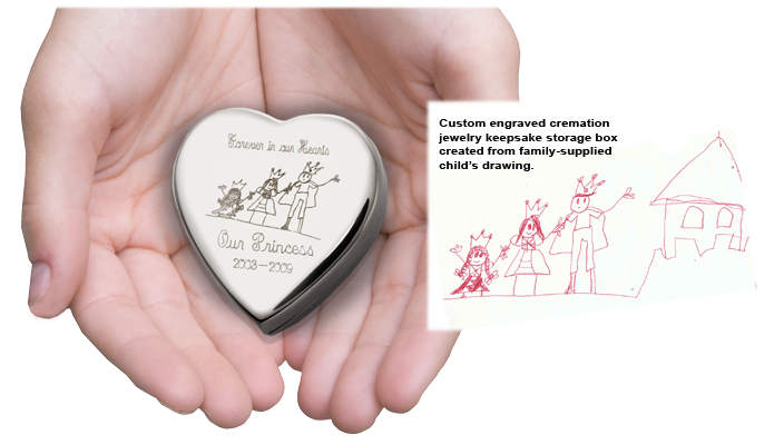 engraved heart keepsake urn in hands with actual drawing