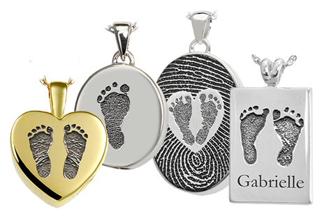 baby feet print cremation jewelry