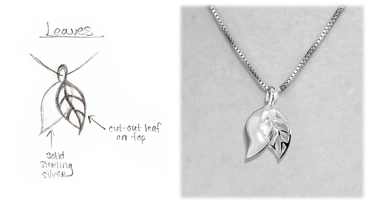 sketch of leaves pendant shown with actual finished jewelry