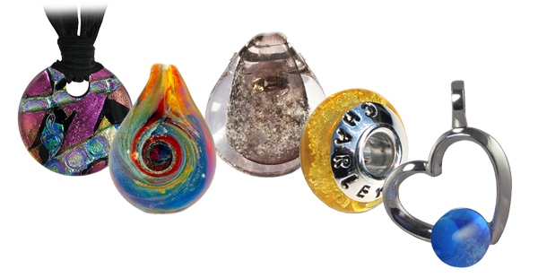 art glass cremation jewelry
