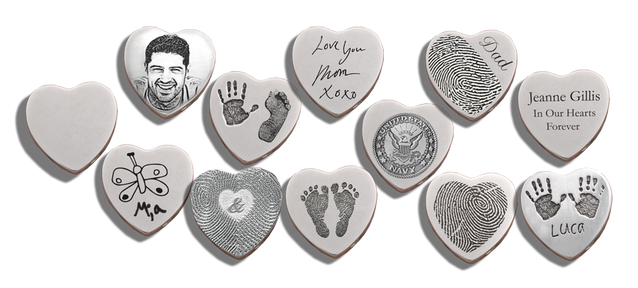 different personalization options on heart jewelry