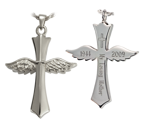winged cross cremation jewelry engraved
